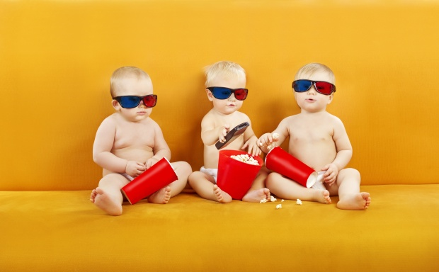 Baby 3D Glasses Watching Film On TV, Children Eating Popcorn